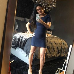 Navy Bebe Bodycon Mini Dress